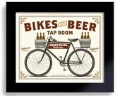 Bicycle Art, Beer Art, Bike Art, Beer Sign, Cycling Art, Beer Gift Bike Enthusiast Bar Decor Office Art Vintage Inspired