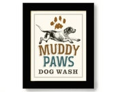 Laundry Room Decor Dog Art Bathroom Art Dog Paw Print Washing Machine Hunting Dog Wall Art Cabin Decor