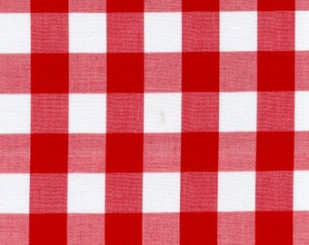 """60"""" Wide Gingham 1 Inch Check Red By the Yard"""