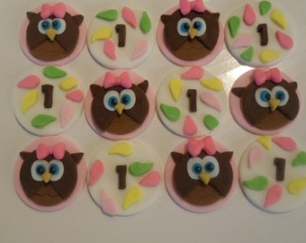Fondant Owl Cupcake Toppers - Look Who's One