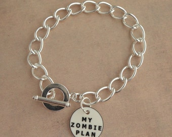 Create Your Own The Walking Dead Zombie Apocalypse Charm Bracelet - MY ZOMBIE PLAN Bracelet Blank - Zombie Survival Kit Jewellery