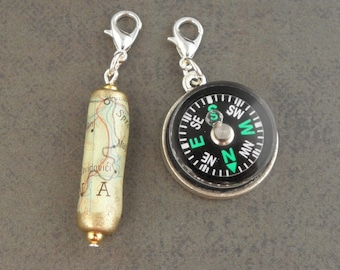 MAP & COMPASS Charm Set - For The Create Your Own The Walking Dead Zombie Apocalypse Charm Bracelet - Set Of 2 - Zombie Survival Kit Jewelry
