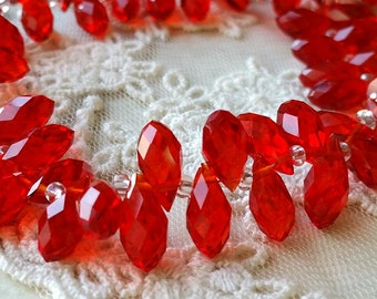 6 x 12 mm 48 Faceted Cut Tear Drop Shape Red Glass / Crystal / Lampwork Beads (.ss)