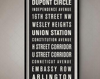 Washington DC Bus Roll Sign, Typographic Art ,Bus Blind, Subway Scroll, Transport Art, Wall Print, House Decor, Boho Chic, Mid-Century, Art