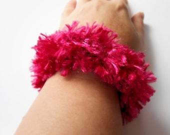 Bright Pink Ponytail Holder Knit Fuzzy Scrunchie Hair Tie
