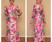 Vintage 1960s Tiki Dress 60s Tropical Floral Print Rockabilly Pinup Girl Full Length Dress Sheer Silk Dress Long Sleeves Size Small 4