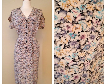 Vintage 80s Does 50s Floral Shirt Waist Dress - Short Sleeve Knee Length - 1950s Style Button Up Size Large
