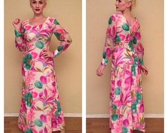 Vintage 1960s Tiki Dress 60s Tropical Floral Print Rockabilly Pinup Girl Full Length Dress Sheer Silk Dress Long Sleeves Size Small 4