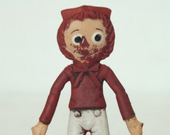 """Collectible Raggedy Andy, Bobbs Merrill Co, 6"""" Flex Doll, 1967"""