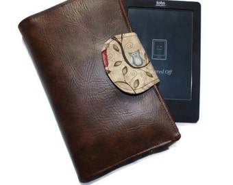iPad Mini, RUSTIC OWL Kindle Paperwhite Brown Vinyl Faux Leather eReader Cover, Nook Cover, Kobo Cover, Kindle Cover