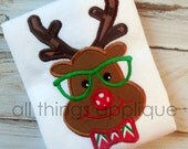 Nerdy Reindeer Boy Applique - SATIN Stitch - Christmas Applique Design - 4 Sizes - INSTANT DOWNLOAD