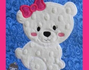 Girl Polar Bear Applique design