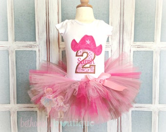 Cowgirl Outfit - Cowgirl Birthday Outfit - 1st Birthday Outfit - Pink and brown Cowgirl Tutu - birthday tutu outfit - Cowgirl party