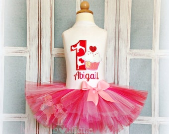 Valentine's Day birthday outfit - Cupcake birthday tutu outfit - 1st Birthday outfit - personalized Valentine's Day themed outfit for girls