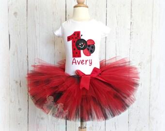 Birthday Ladybug Tutu Outfit- Red and Black- Custom Birthday Tutu Set- Embroidery Applique