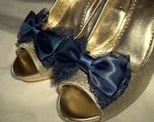 Wedding Lace Shoe Clips, Navy Blue Shoe Clips, Wedding Shoes Clips, Bridal SHoes Clips, Lace Shoe Clips, Shoe Clips ons, Bow Shoe Clips,