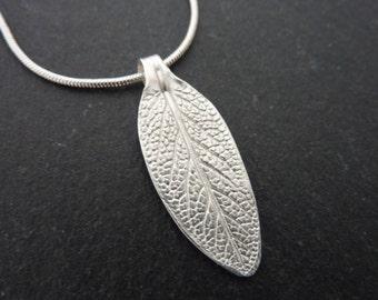 Silver Leaf Pendant - Fine Silver Leaf Necklace, Free UK Postage