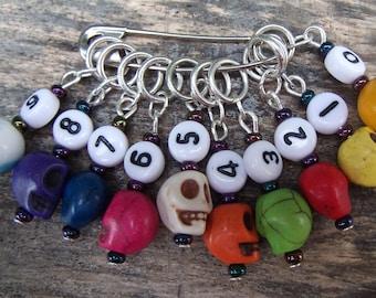 0-9 Skull stitch markers