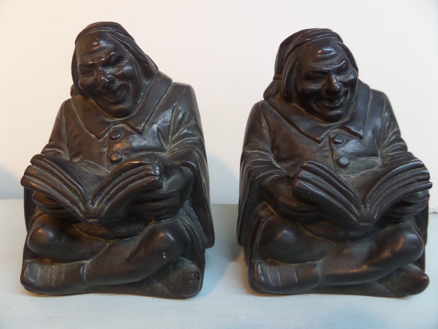 Reserved for ken armor bronze company monk bookends vintage - Armor bronze bookends ...