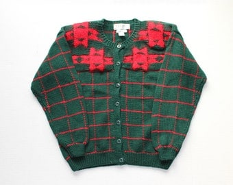 SALE // Vintage 80s Geometric Red and Green Cardigan