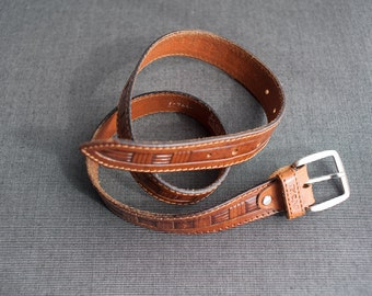 Vintage Cognac Brown Tooled Leather Belt