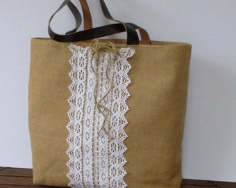 Lace and jute tote bag, handmade bag with genuine leather straps, elegant, chic, romantic,  unique, chic,light,city bag, stylish