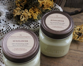 SUNFLOWER candle pack 2 pack all natural soy candles sun sun flowers summer fun yellow golden rustic farmhouse Montana soy candle