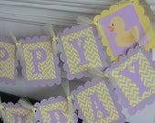 Happy Birthday or Baby Shower Yellow Lavender Purple Rubber Ducky Chevron Banner - Cupcake Toppers, Favor Tags & Door Sign Available