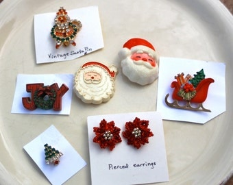 Vintage Christmas Earrings and pins.