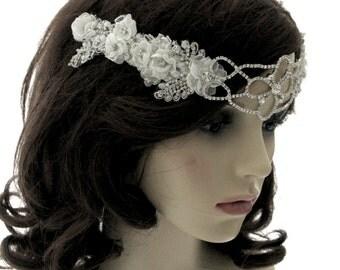 Georgia Rose - bridal browband - bridal headband - crystal and silk flower headband