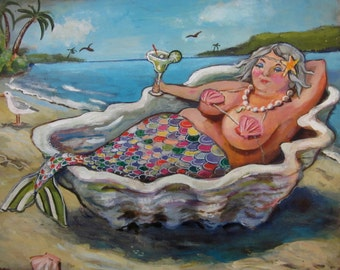 "Mermaid art on canvas// bbw mermaid/ Sasha Mermaid//bathroom print// Margaritas 8""x10"""