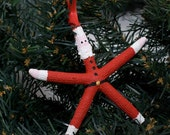 Beach Christmas Ornament - Beach Decor Starfish Santa Christmas Ornament - REAL Starfish Ornament - Nautical Ornament