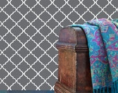Removable Wallpaper- Moroccan Lattice- Peel & Stick Self Adhesive Fabric Temporary Wallpaper-Repositionable-Reusable- FAST. EASY.