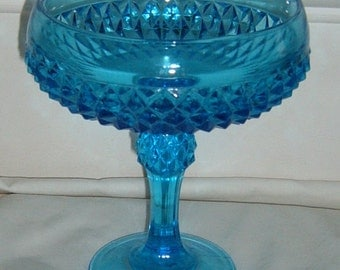 Vintage, Candy Dish, Pedestal Dish, Blue Glass, Pressed Glass, Indiana, Diamon Point, Compote