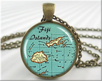 Fiji Map Pendant Resin Charm Fiji Islands Vintage Map Picture Jewelry (680RB)