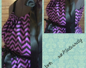 Maternity Hospital Gown: Purple and bkack chevron