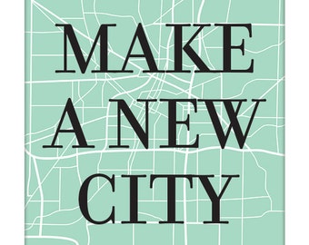 Custom City Map Art Print / Digital Print Wall Poster / Choose your City, Color and Size