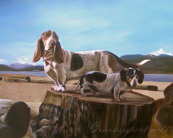 "Custom Pet Portrait - Oil Painting - Dog Portrait - Basset Hound - Perfect Gift Idea - 16""x20"""