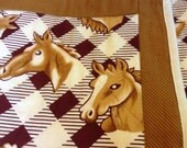Horse Heads Lap Quilt, Throw Blanket, Wheelchair Quilt