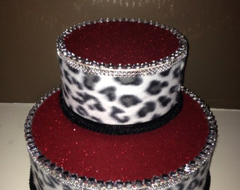 Leapord Cake Pop / Cup Cake / Cake Stand table 2 tier with Leapord ribbon and Rhinestones