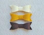 9 Piece Die Cut Felt DIY Small Bows, Old Gold/Straw/Brown