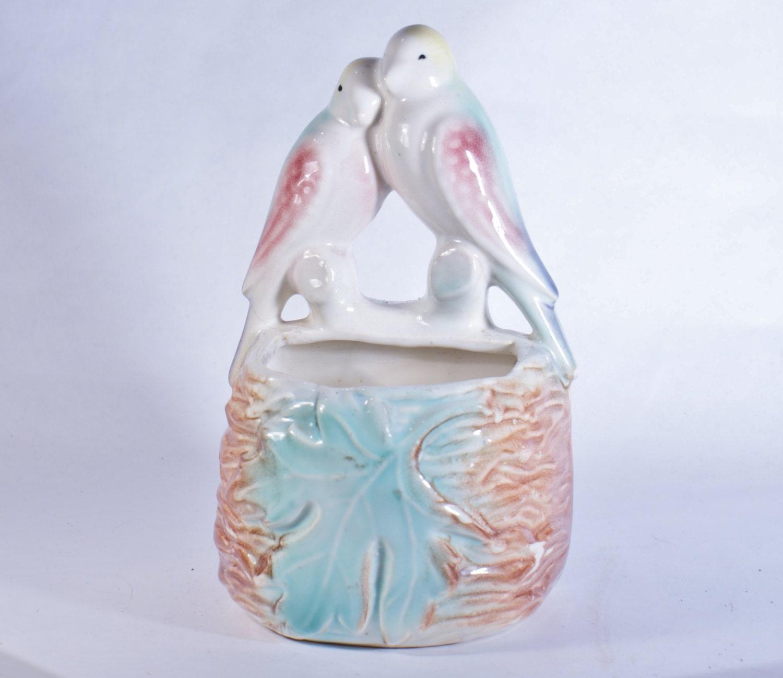 Planter Vintage Love Birds Ceramic Lovebirds Pottery Bird Wall