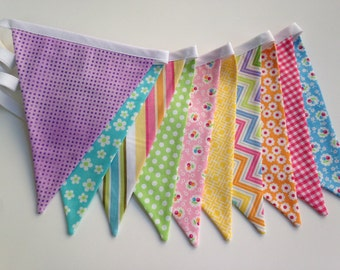 Spring Pastels fabric pennant banner, bunting, Spring Carnival, Easter or Birthday party decoration,  photo prop, egg hunt decor