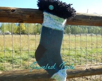 Jeweled Jade Hand Knit Wool Christmas Stocking