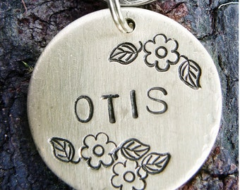 Pet Tag ID, Dog Tag, Custom Pet Tag, Flowers Hand Stamped Pet ID Tag, BRASS Floral Otis