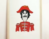 George Harrison Sgt Peppers Art Giclee The Beatles Red Wall Portrait Artwork Handmade Illustration - 8 x 10 A4 8.3 x 11.7 in 210 x 297 mm