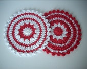 crochet christmas coaster large crochet applique set of 2 red and white