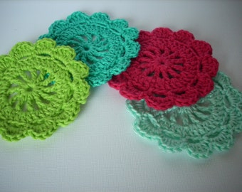christmas crochet  coasters large crochet applique red green aqua turquoise set of 4