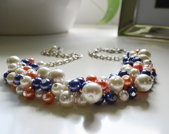 Pearl Necklace, Navy, Coral and Ivory Pearl Necklace, Bridesmaid Jewelry, Bridal Jewelry, Chunky Necklace, Coral Necklace, Beachy Jewelry