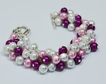 White, Magenta and  Mauve Pearl Bracelet, Cluster Bracelet, Magenta Bridesmaid Jewelry, Chunky Pearl Bracelet, Pearl Bracelet, Pearl Jewelry